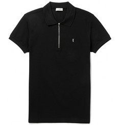Saint Laurent Half-Zip Cotton-Piqué Polo Shirt
