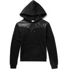 Saint Laurent Leather-Panelled Loopback Cotton-Jersey Hoodie