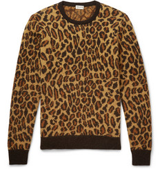 Saint Laurent Leopard-Intarsia Mohair-Blend Sweater