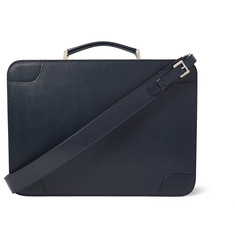 Valextra Costa Pebbled-Leather Briefcase