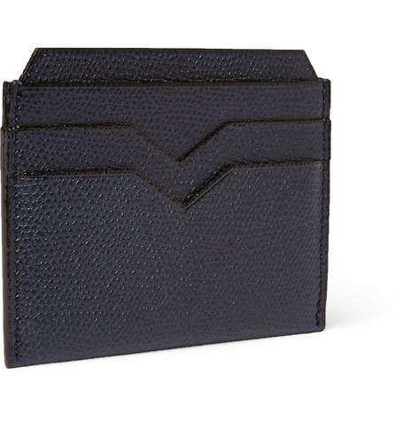 Valextra Pebble-grain Leather Cardholder In Navy