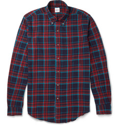 Aspesi Button-Down Collar Checked Stretch Cotton-Flannel Shirt