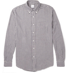 Aspesi Button-Down Collar Gingham Stretch Cotton-Flannel Shirt