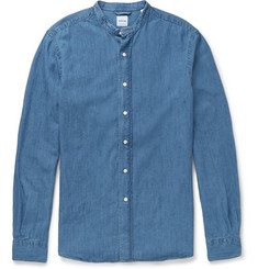 Aspesi Slim-Fit Grandad-Collar Denim Shirt