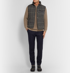 Tod's Leather-Trimmed Checked Jacquard Gilet