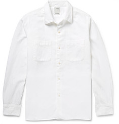 Visvim Vacher Satin-Panelled Cotton and Linen-Blend Shirt
