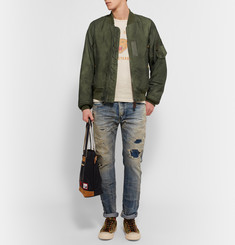 Visvim Thorson Washed Satin-Twill Bomber Jacket