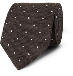 Dunhill - Polka-Dot Embroidered Wool and Silk-Blend Tie