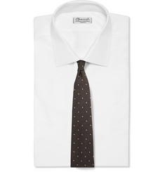 Dunhill Polka-Dot Embroidered Wool and Silk-Blend Tie
