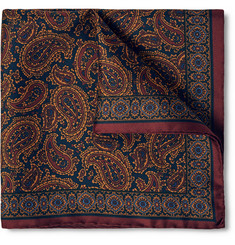 Dunhill Paisley-Print Mulberry Silk-Twill Pocket Square