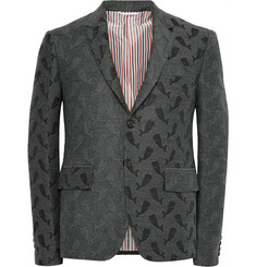 Thom Browne Dark-Grey Slim-Fit Whale-Jacquard Blazer