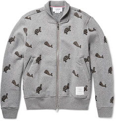Thom Browne Embroidered Zip-Up Cotton-Fleece Sweatshirt