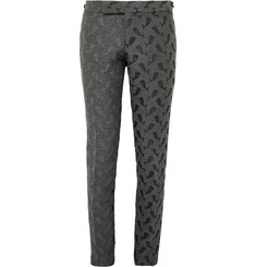 Thom Browne Dark-Grey Skinny-Fit Whale-Jacquard Trousers