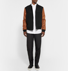 Tim Coppens Wool-Blend and Leather Bomber Jacket