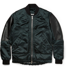 Tim Coppens Leather-Panelled Shell Bomber Jacket