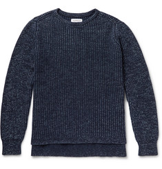Ron Herman Indigo-Dyed Ribbed Cashmere and Cotton-Blend Sweater