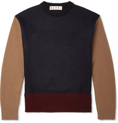 Marni Colour-Block Wool and Cashmere-Blend Sweater