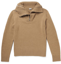 Loewe Multi-Zip Funnel-Neck Knitted Camel Sweater