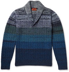 Missoni Striped Shawl-Collar Wool Sweater