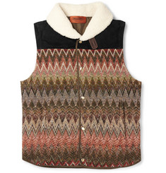Missoni Shearling-Collar Zigzag Crochet-Knit Gilet