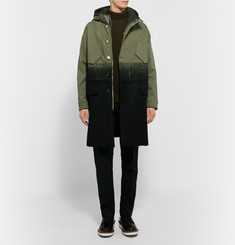 Neil Barrett Dégradé Brushed-Cotton and Wool-Twill Parka With Detachable Hoodie