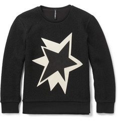Neil Barrett Leather-Appliquéd Boiled-Wool Sweatshirt