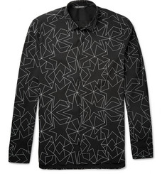 Neil Barrett Geometric-Print Stretch Cotton-Blend Poplin Shirt