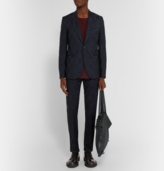 Paul Smith Navy Bauhaus Slim-Fit Checked Wool Suit Jacket