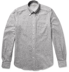 Boglioli Slim-Fit Button-Down Collar Mélange Silk and Cotton-Blend Shirt