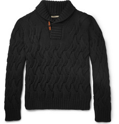 Boglioli Shawl-Collar Cable-Knit Wool Sweater