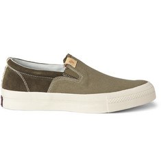 Visvim Skagway Suede and Canvas Slip-On Sneakers