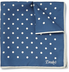 Kingsman + Drake's Polka-Dot Silk-Twill Pocket Square