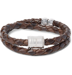 Miansai Casing Woven Leather and Silver-Plated Wrap Bracelet