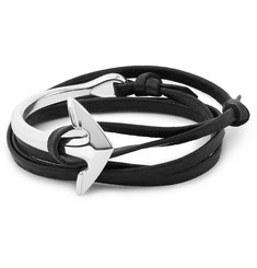 Miansai Leather and Silver-Plated Anchor Bracelet