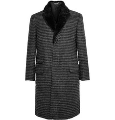 Ovadia & Sons Shearling-Trimmed Wool-Tweed Overcoat