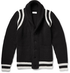 Ovadia & Sons Shawl-Collar Ribbed Wool-Blend Cardigan