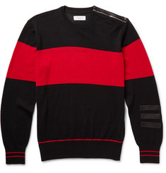 Ovadia & Sons Leather-Trimmed Striped Merino Wool Sweater