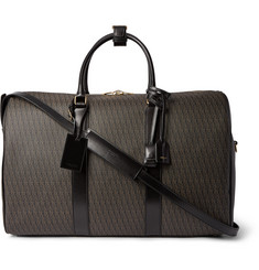 Saint Laurent Leather-Trimmed Monogrammed Coated Cotton-Canvas Holdall