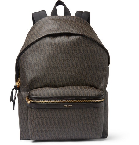 saint laurent male 211468 saint laurent leathertrimmed monogrammed canvas backpack brown