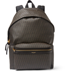 Saint Laurent Leather-Trimmed Monogrammed Canvas Backpack