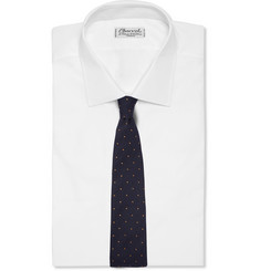 Drake's Dot-Embroidered Silk and Wool-Blend Tie