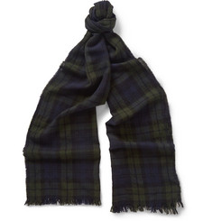 Drake's Blackwatch Checked Merino Wool Scarf