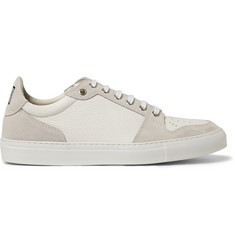 AMI Textured-Leather and Suede Sneakers