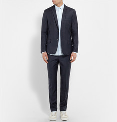 AMI Navy Tapered Wool Trousers
