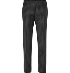 AMI Black Slim-Fit Pinstriped Wool Trousers