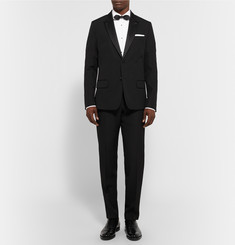 AMI Black Slim-Fit Wool Tuxedo Trousers
