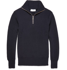 AMI Half-Zip Ribbed Merino Wool Sweater