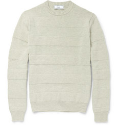 AMI Stripe-Embossed Merino Wool Sweater
