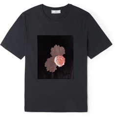 AMI Felted Floral-Print Cotton-Jersey T-Shirt