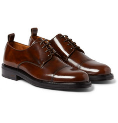 AMI Cap-Toe Glossed-Leather Derby Shoes